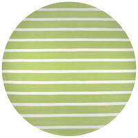 Rizzy Home Azzura Hill Collection Lime Stripe Hand-tufted Round Area Rug - 8' x 8'