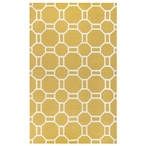 Rizzy Home Hand-tufted Azzura Hill Gold Geometric Round Area Rug (8' Round) - 8' x 8'