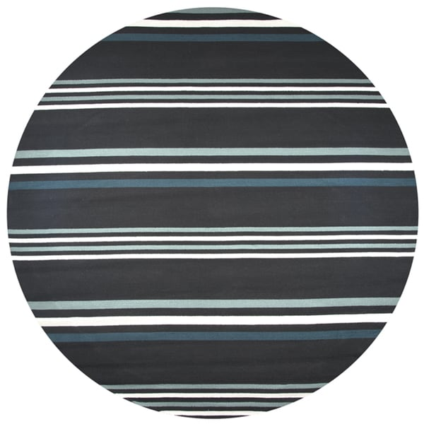 Rizzy Home Hand-tufted Azzura Hill Dark Charcoal Stripe Round Area Rug - 8' x 8'