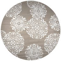 Rizzy Home Hand-tufted Azzura Hill Light Brown Medallion Round Area Rug - 8' x 8'