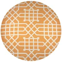 Azzura Hill Orange Polypropylene Trellis/Geometric Hand-tufted Round Area Rug - 8' x 8'