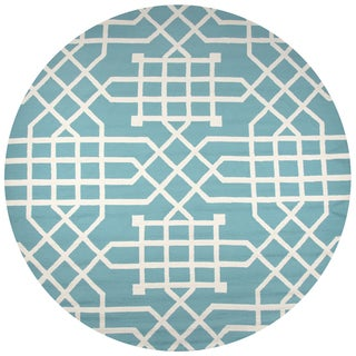 Rizzy Home Azzura Hill Teal Trellis/Geometric Round Area Rug (8' Round)