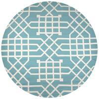 Rizzy Home Azzura Hill Teal Trellis/Geometric Round Area Rug - 8' x 8'