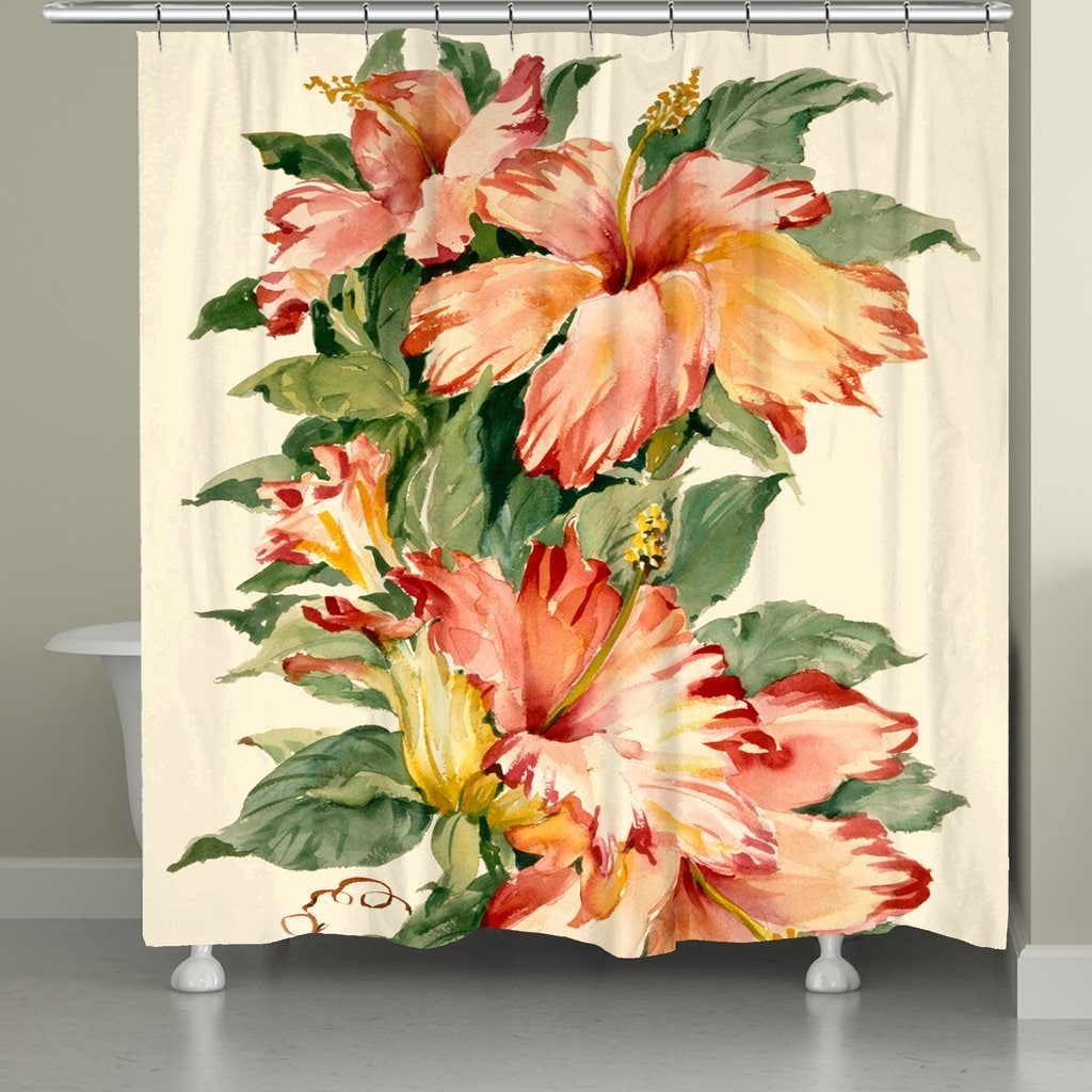 """Laural Home Blooming Hibiscus Shower Curtain (71"""" x 74""""),..."""