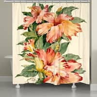 Laural Home Blooming Hibiscus Shower Curtain