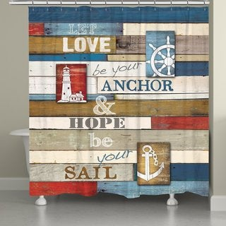 Laural Home Nautical Words Shower Curtain