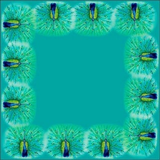 Betsy Drake Peacock 52-inch Square Tablecloth