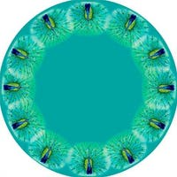 Betsy Drake Round Peacock Design Tablecloth