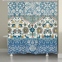 Laural Home Boho Blue Tapestry Shower Curtain