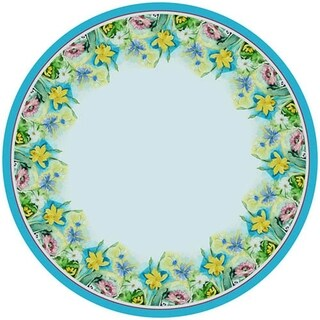 Betsy Drake Floral Round Wrinkle-free Tablecloth 58