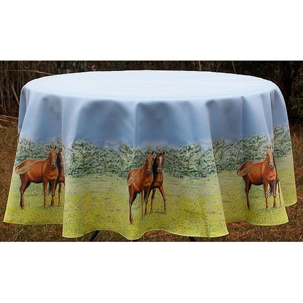 Betsy Drake Multicolored 68 Inch Round Horse Tablecloth