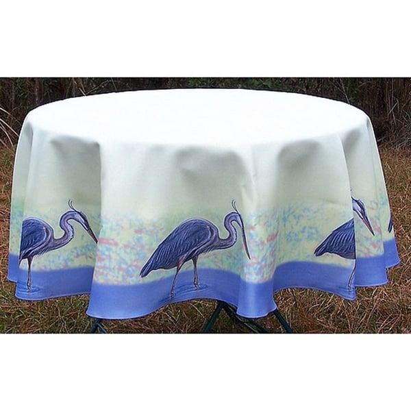 Blue Heron 68 Inch Round Tablecloth
