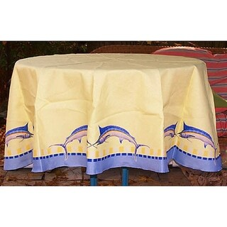 Betsey Drake Blue Marlin Yellow Wrinkle-free Tablecloth