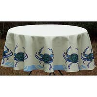 Betsy Drake Blue Crab Round Tablecloth