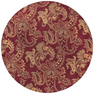 Rizzy Home Ashlyn Collection Burgundy Wool Hand-tufted Paisley Round Area Rug (8' x 8')