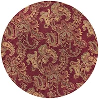 Rizzy Home Ashlyn Collection Burgundy Wool Hand-tufted Paisley Round Area Rug (8' x 8') - 8' x 8'