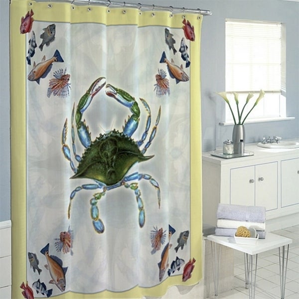 Betsy Drake Blue Crab And Fish Multicolored Shower Curtain