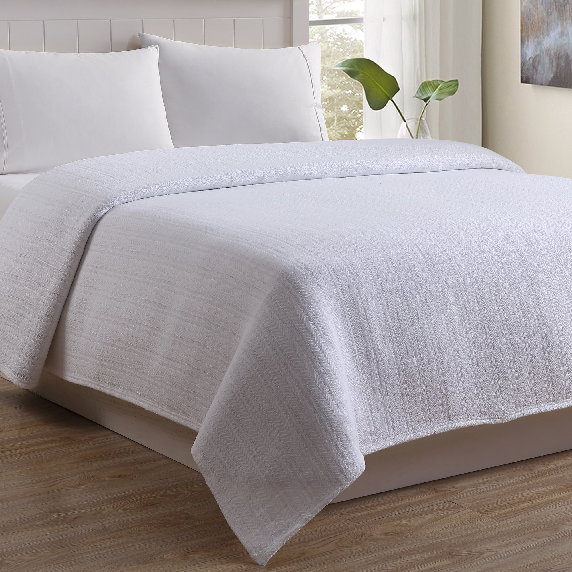 White Cotton Cable Woven Blanket Cozy Bed Full//Queen