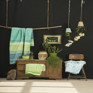 Summer Stripes Green/ Teal Oversized Throw