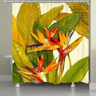 Laural Home Tropical Blossoms Shower Curtain