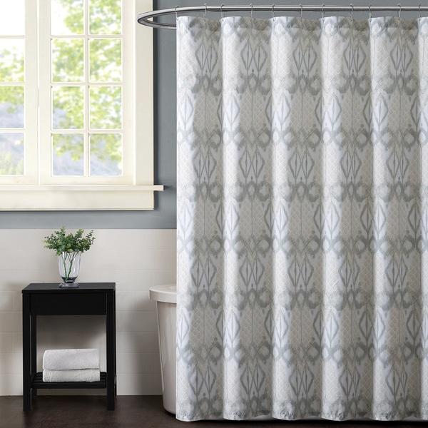Christian Siriano Grey Ikat Print Shower Curtain