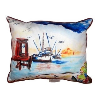 Dock and Shrimp Boat Zippered Throw Pillow