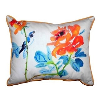 Bird and Roses Zippered Throw Pillow