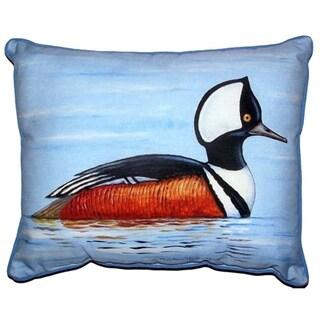 Hooded Merganser Duck Print Zippered Throw Pillow