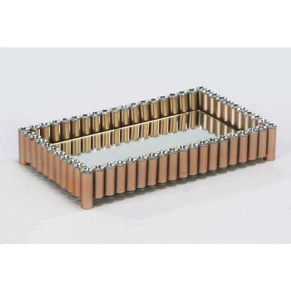 Gold Acrylic Bling Bead Vanity Tray