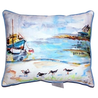 Boat and Sandpipers Zippered Throw Pillow