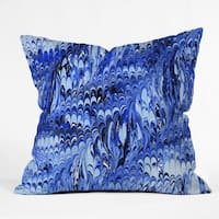 Amy Sia Marble Wave Blue Throw Pillow