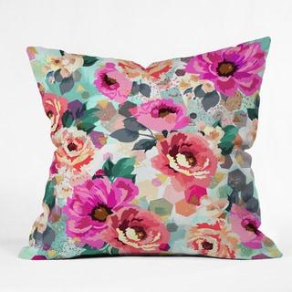 Marta Barragan Camarasa Abstract Geometrical Flowers Throw Pillow