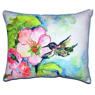 Hummingbird and Hibiscus Zippered Throw Pillow