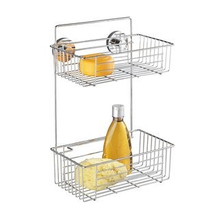 Wenko Bari Chrome Steel 2-tier Vacuum-Loc Wall Rack