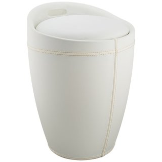 Wenko Candy White Leather Look Bath Stool