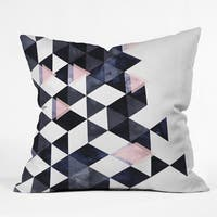 Emanuela Carratoni Blue Geometry Throw Pillow