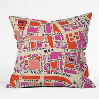 Holli Zollinger Paris Map Pink Throw Pillow
