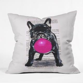 Coco de Paris Bulldog With Bubblegum 01 Throw Pillow