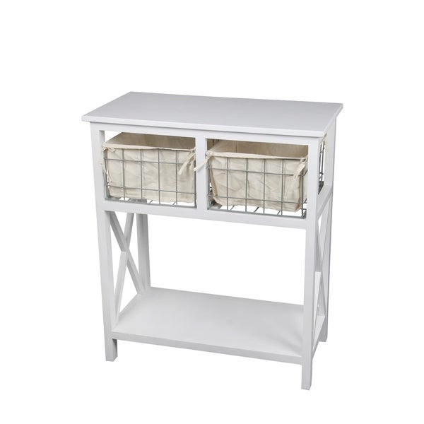 Privilege White Finish Wood and Metal 2-drawer Storage Stand