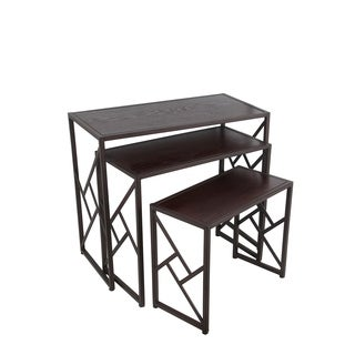 Privilege Black-finished Iron Rectangular 3-piece Nesting Tables Set