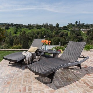 Pacific Outdoor 3-piece Wicker Chaise Lounge Set by Christopher Knight Home