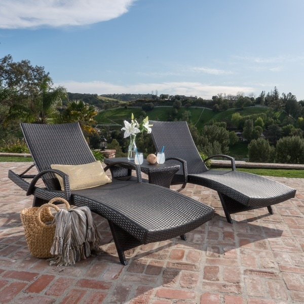 Pacific Outdoor 3-piece Wicker Armed Chaise Lounge Set by Christopher  Knight Home - Shop Pacific Outdoor 3-piece Wicker Armed Chaise Lounge Set By
