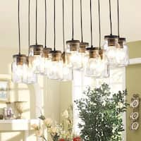 The Lighting Store Belinda Antique Black Metal/Clear Glass 12-light Canning Jar Pendant Chandelier