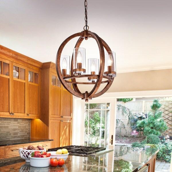 Benita 4-light Antique Copper Iron Orb Chandelier
