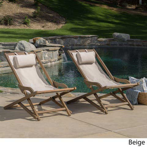 Nikki Outdoor Wood Sling Chair (Set of 2) by Christopher Knight Home