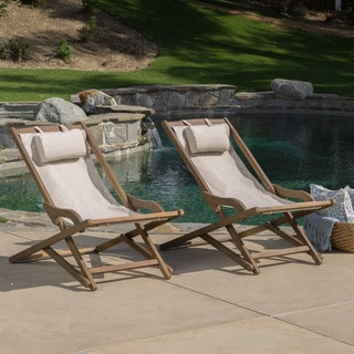 Link to Nikki Outdoor Wood Sling Chair (Set of 2) by Christopher Knight Home Similar Items in Patio Furniture