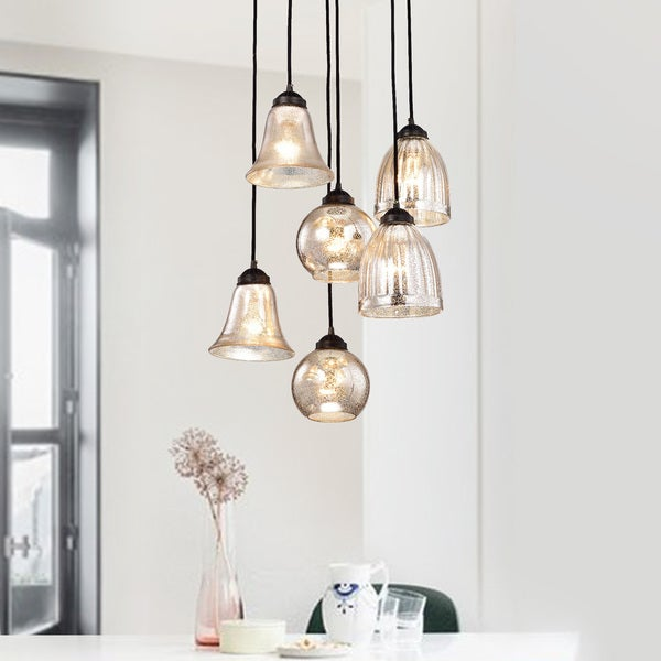 Belinda antique black and antique silver glass 6 light pendant belinda antique black and antique silver glass 6 light pendant chandelier aloadofball Gallery