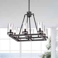 Daniela Antique Black Square 8-light Clear Glass Cylinder Chandelier