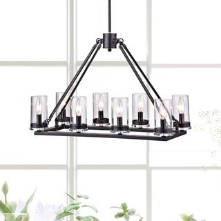 Daniela Antique Black 8-light Linear Clear Glass Cylinder Chandelier