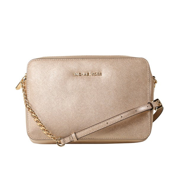 7eb3b1e1868a Michael Kors Jet Set Travel Large Metallic Pale Gold Leather Crossbody  Handbag